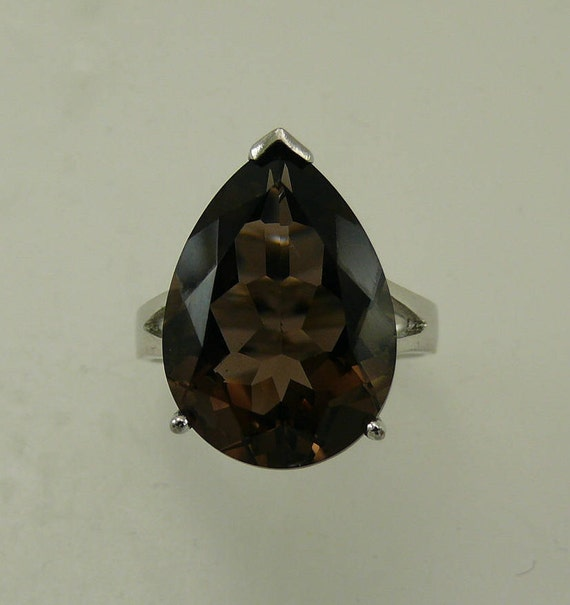 Smokey Topaz 10.0ct Ring with Sterling Silver Setting