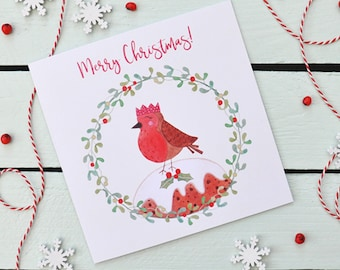Christmas Card - Jolly Robin - Merry Christmas - Cute Character Greeting Card - Robin - Christmas Pudding - Wreath - Holly