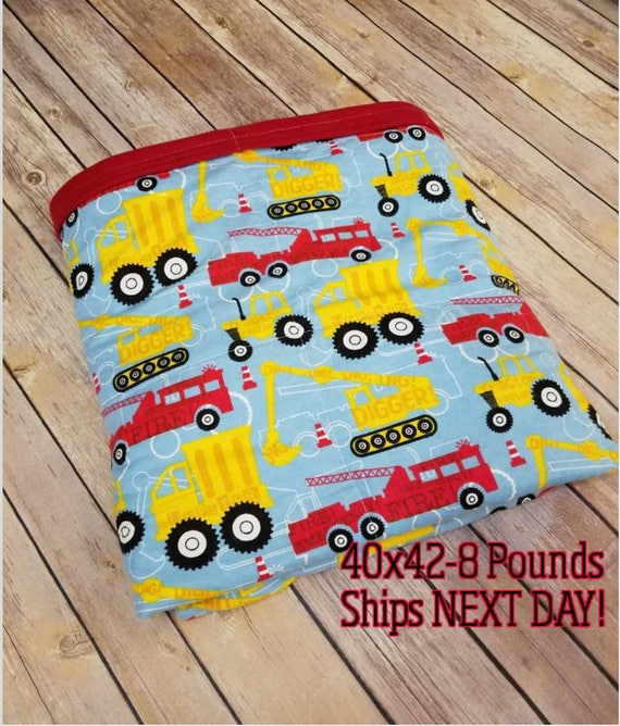 Construction, 8 Pound, WEIGHTED BLANKET, Ready To Ship, 8 pounds, 40x42 for Autism, Sensory, ADHD