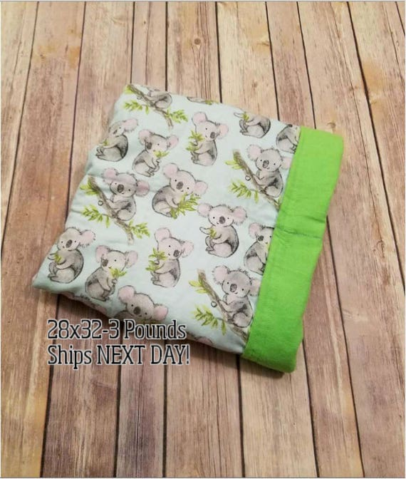 Koala, 3 pound, WEIGHTED BLANKET, Ready To Ship, 3 pounds, 28x32 for Autism, Sensory, ADHD, Calming, Anxiety,