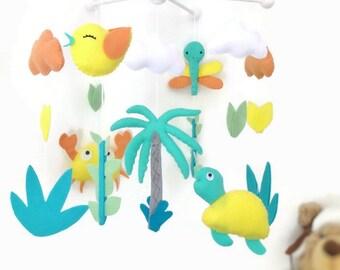 Musical baby mobile. Palm , bird , dragonfly, turtle, cloud ... island theme. nursery crib mobile