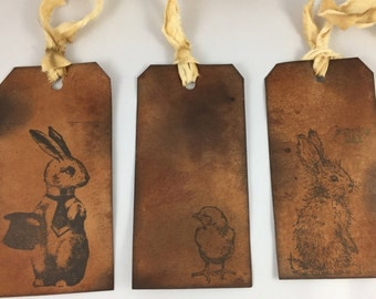 Grungy Primitive Easter Tags