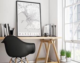 Map of Marseille, France - Fits IKEA Frame - Travel Decor - Wanderlust - Scandinavian Art - Marseilles Travel Poster - Black White Poster