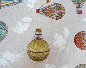 Retro Victorian Hot Air Balloon Fabric - Cotton Mix Furnishing/Craft Canvas Fabric