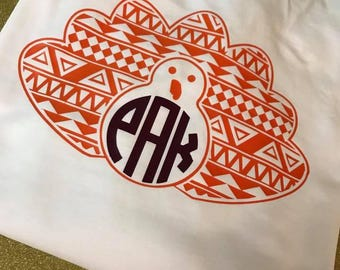 Thanksgiving Tee -- Aztec Turkey T-shirt -  Long Sleeve - Infant - adult sizes