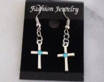 Silver Cross Earrings with Blue Rhinestone, Christian Earrings, Silver Cross Jewelry, Cross Gift, Cross Earrings, Religious Gift, Cross