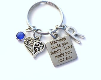 Gift for Son in law Keychain, Marriage made you family Love made you our son Key Chain Birthstone Initial Present Jewelry Groom my Step Half