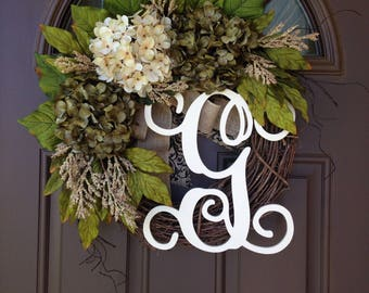 Wreath - All Season Hydrangea Wreath with Monogram - Grapevine Wreath with Burlap - Rustic Year Round Decor - Monogrammed Wreath -