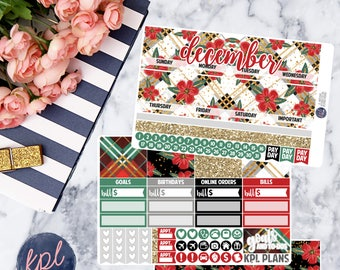 December Monthly Planner Sticker Kit. Perfect for Erin Condren Life Planners! DECEMBER