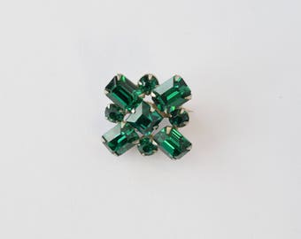 Vintage Art Deco Emerald Green Rhinestone Brooch