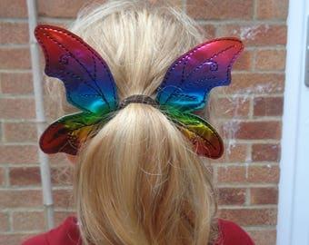 Rainbow Fairy Wings Bun / Pony Tail Pal - Hair Accessory - Hair Clip - Barrette - Fascinator - Hair Slide - Hair Grips - Wings - Faery Wing