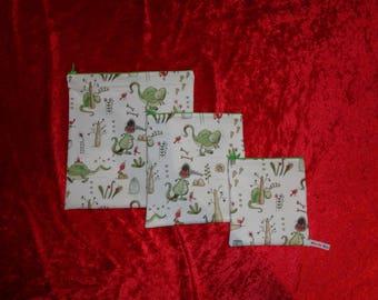 Dinosaur Rawr Set 3x Poppins Waterproof Lined Zip Pouch - Sandwich bag - Zip Pouch Bikini Bag - Lunch Bag - Swim Bag - Gift Bag  Christmas