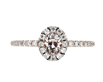 14k Rose Gold Morganite Ring Rose Gold Engagement Ring Morganite Halo Diamond Engagement Ring Morganite Engagement Ring Morganite Rose Gold