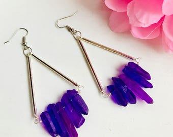 Titanium Quartz earrings, Natural stone earrings, Purple quartz crystal earrings, Stone earrings, Bar earrings, Purple earrings