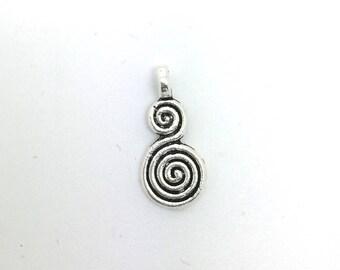 10 pendants spiral pattern in silver - 18 x 8 mm (1.8 x 0.8 cm)