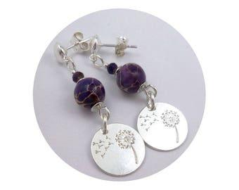 Earrings silver studs and beige purple Jasper, dandelion flower sequins