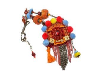 Multicolor designer necklace bronze tassels nomadic ethnic Bohemian
