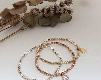 Rose gold bracelet, silver star bracelets, Rose gold beads, stacking bracelets, gold filled beaded bracelet, stretch bracelets