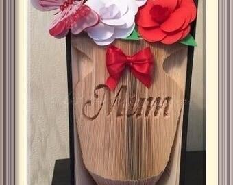 Mum - Vase Book Folding Pattern.
