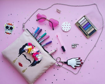 FRIDA Kahlo Vegan Leather  Clutch & Handbag Small Leather Bag.Crossbody Bag,  Leather Makeup Bag. Leather Cosmetic Bag. Glitter Bag