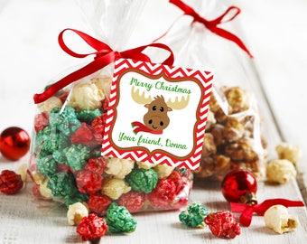Merry Christmas Tags, Personalized Christmas Tags, Printable Christmas Tags, Printable Christmas Labels, Moose Tags, Christmas Favor Tags