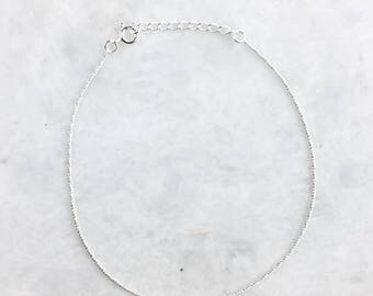Sterling silver minimal twisted anklet, Silver twisted anklet, Minimal anklet, Chain anklet (A27)