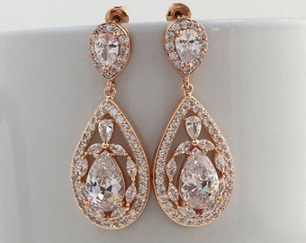 Rose Gold Cubic Zirconia Earrings Rose Gold Teardrop Bridal Earrings  Rose Gold Wedding Earrings Bridal Earrings RoseGold Bridesmaid Jewelry
