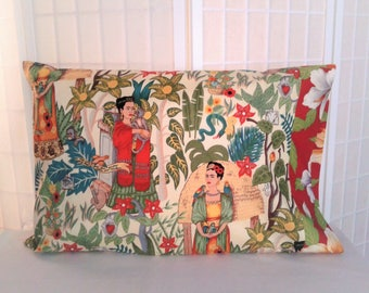 Frida Pillowcases, Frida's Garden, Red, Full Queen, Standard Pillow cases, pillow covers, bedding, Cotton, Set of 2