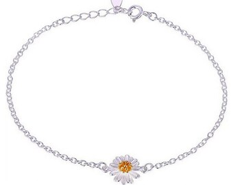 Daisy flower sterling silver anklet