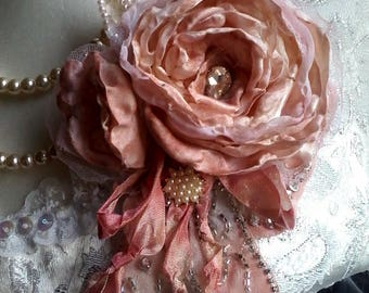 edwardian rose floral brooch, versatile brooch, hair flower, romantic corsage, shabby chic tattered brooch,  mother of the bride brooch