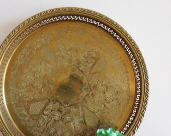 Vintage Brass Tray - Hollywood Regency. Bohemian, Boho, Etched Brass, Vanity Tray, Jewelry Tray