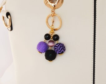 Pom Pom Bag Charm Purple Keychain of beads Handbag charm beaded handmade accessories for bags charm Keychains for women Purse Charms