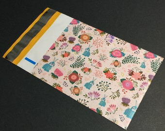 50 Designer Poly Mailers 6x9 Rabbits and Flowers Spring Easter Envelopes Shipping Bags