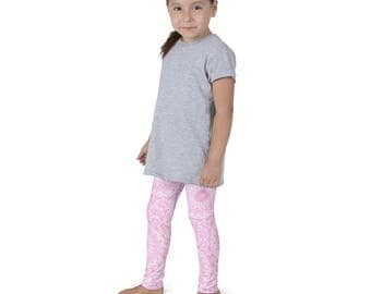 Leggings Girls Pink Yoga Pants for Kids, Pink and White Children's Activewear