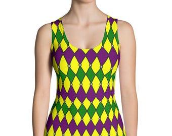 Mardi Gras Shirt Women, Stretchy Sleeveless Jester Top, Harlequin Pattern Tank Top Costumes