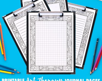 Printable Coloring Journal Pages | Art Therapy Series A (10 Pack) | PDF includes grid, small lines, big lines and blank variations
