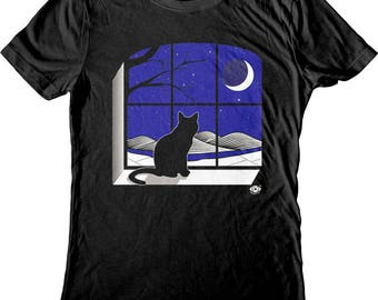 Cat Moon Window. Cat shirt. Men's & Women's shirts and tank tops. Screen Printed, not vinyl!