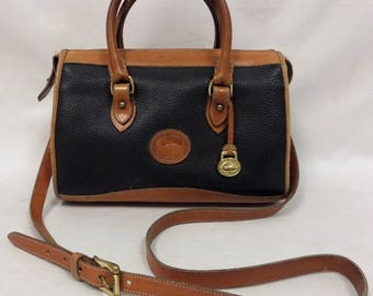 Vintage Dooney and Bourke Black Pebbled Leather Satchel Purse & Crossbody Strap