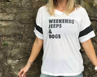 Weekends Jeeps & Dogs (Ivory Tee): Women's Oversized V-Neck Shirt