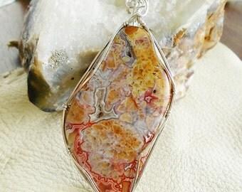 Wire wrap jewelry pendant - Crazy Lace Agate wire wrapped pendant - silver wire pendant - agate gemstone pendant