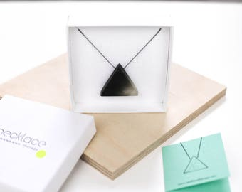 Black minimalist triangle necklace, resin modernist pendant, resin jewelry, architectural necklace, oxidised silver chain, minimal bauhaus