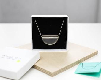 Matte transparent minimalist half circle necklace, resin pendant, sterling silver chain, modernist necklace, minimalistic jewelry, bauhaus