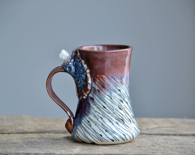 Violet opal purple tall and fancy crystal mug