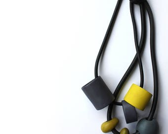 Bold Ceramic Necklace in Aubergine-Grey and Yellow-Green