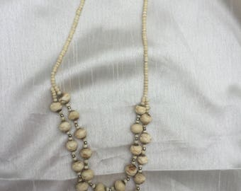 Vintage 1950s double strand bone beaded necklace in original condition