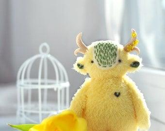 Yellow Spirit Primrose handmade miniature toys monster cute plush