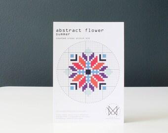Abstract Flower-Summer, Easy DIY Cross Stitch Kit, Beginners Cross Stitch Kit