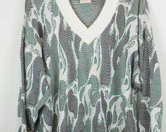 Vintage Sweater, Vintage Knit Pullover, 80s, 90s, white and green, pattern, oversized look