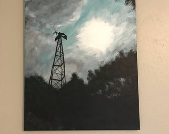 Original Acrylic Painting of a Weather Vane from a Ranch in Texas on Canvas