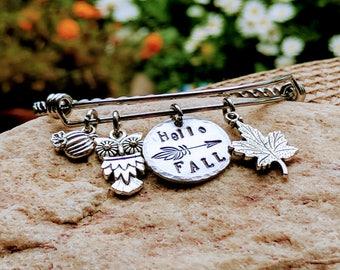 Fall charm jewelry,  Fall charm bracelet, Autumn Jewelry, Autumn bracelet, Owl bracelet, Owl jewelry, Owl charm bracelet, Owl charm jewelry